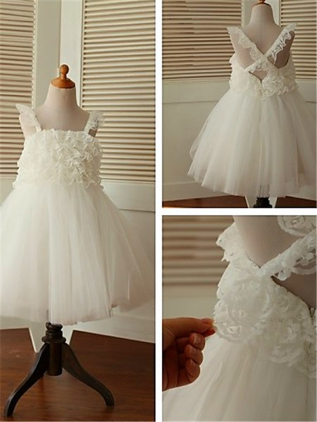 A-line/Princess Sleeveless Straps Tea-Length Organza Flower Girl Dresses with Ruffles
