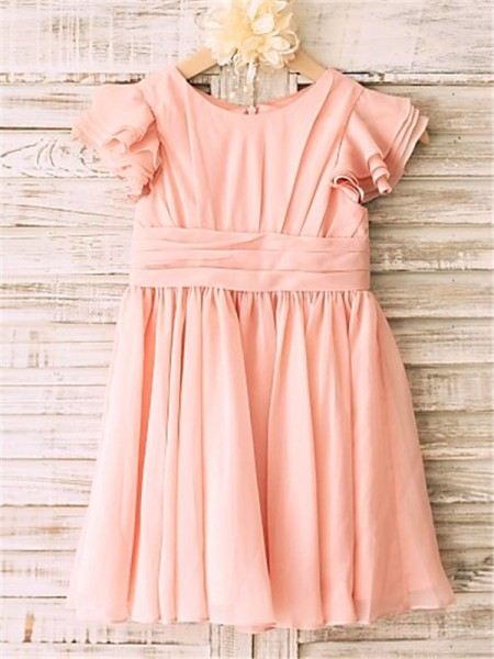 Princess Scoop Tea-Length Chiffon Flower Girl Dresses