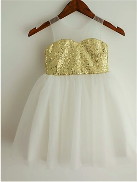 Princess Scoop Tea-Length Tulle Flower Girl Dresses with Sequin