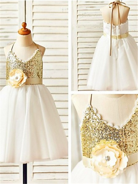 A-line/Princess Halter Sleeveless Tea-Length Tulle Flower Girl Dresses with Sequin