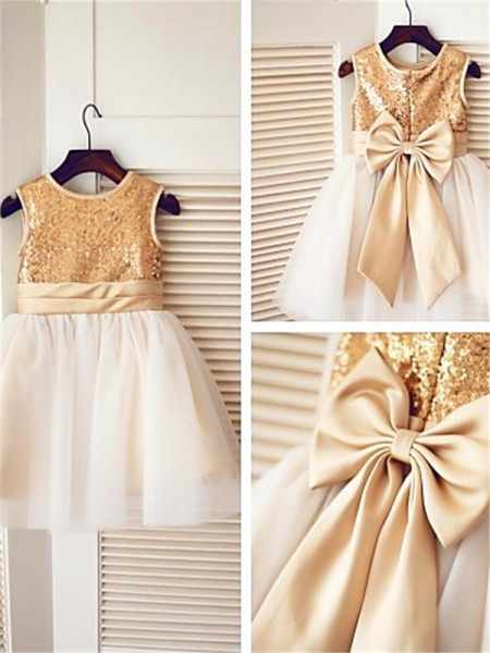 A-line/Princess Sleeveless Scoop Knee-Length Tulle Flower Girl Dresses with Sequin