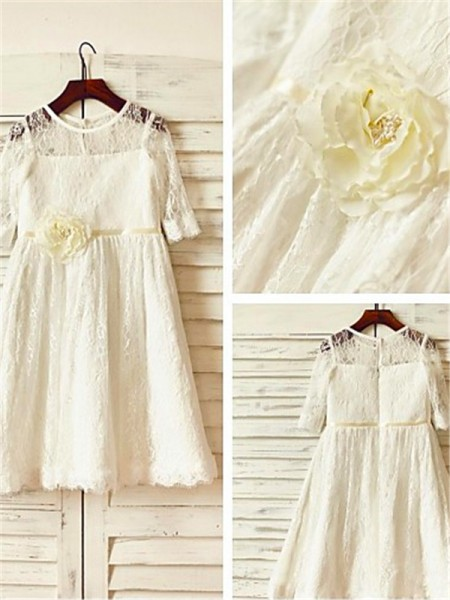 A-line/Princess Scoop 3/4 Sleeves Ankle-Length Lace Flower Girl Dresses with Hand-made Flower