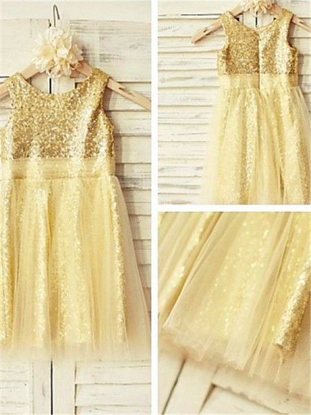 A-line/Princess Scoop Sleeveless Tea-Length Sequins Flower Girl Dresses with Ruffles