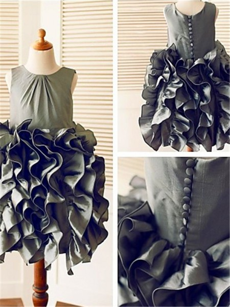 Ball Gown Sleeveless Straps Tea-Length Tulle Flower Girl Dresses with Ruffles
