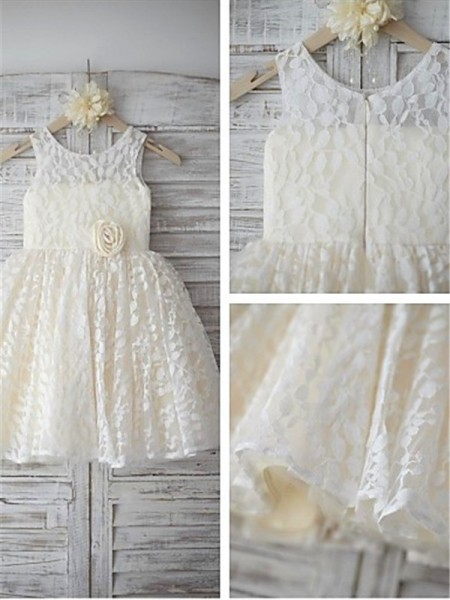 A-line/Princess Sleeveless Scoop Tea-length Lace Flower Girl Dresses with Hand-made Flower