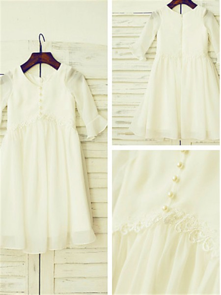 A-line/Princess Scoop Long Sleeves Tea-length Chiffon Flower Girl Dresses with Ruffles