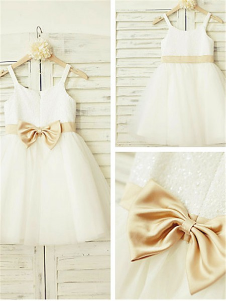 A-line/Princess Spaghetti Straps Sleeveless Knee-Length Tulle Flower Girl Dresses with Bowknot