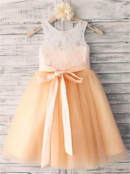 A-line/Princess Sleeveless Scoop Tea-length Tulle Flower Girl Dresses with Sash/Ribbon/Belt