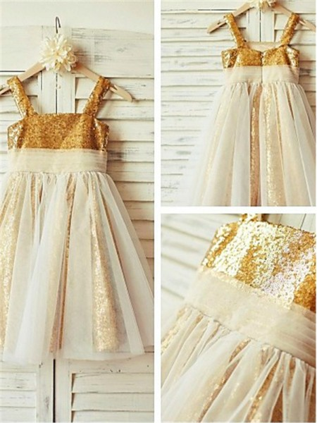 A-line/Princess Spaghetti Straps Sleeveless Tea-length Sequins Flower Girl Dresses with Ruffles