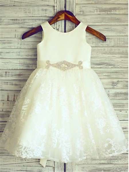 A-line Scoop Sleeveless Knee-Length Lace Flower Girl Dresses with Sash/Ribbon/Belt