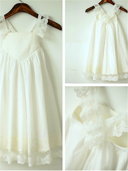 A-line Straps Sleeveless Tea-Length Chiffon Flower Girl Dresses with Ruffles