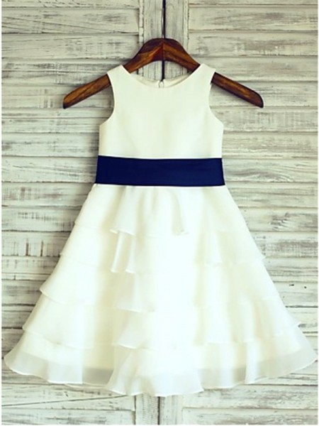 A-line/Princess Sleeveless Scoop Tea-length Chiffon Flower Girl Dresses with Ruffles