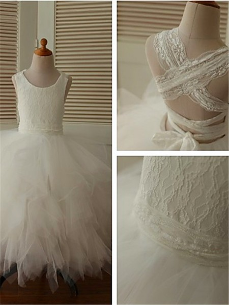 Ball Gown Scoop Sleeveless Lace Tea-Length Organza Flower Girl Dresses