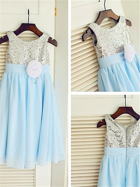A-line/Princess Scoop Sleeveless Tea-length Chiffon Flower Girl Dresses with Sequin