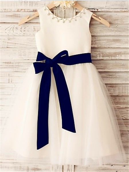 Princess Scoop Sleeveless Tea-Length Tulle Flower Girl Dresses with Bowknot