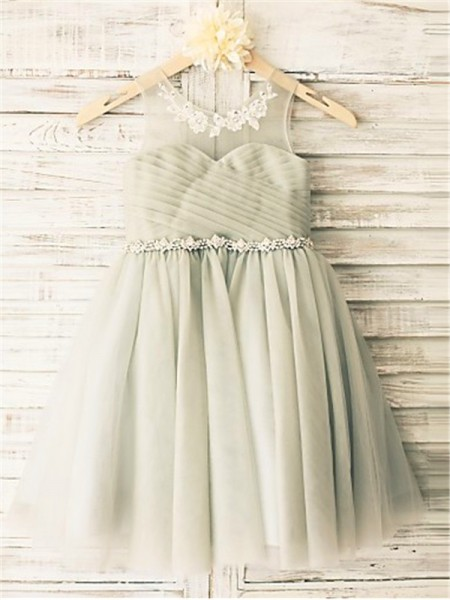 A-line/Princess Scoop Sleeveless Tea-Length Tulle Flower Girl Dresses with Beading