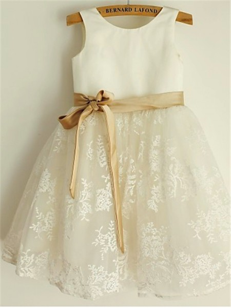 Princess Scoop Sleeveless Tea-Length Lace Flower Girl Dresses with Bowknot