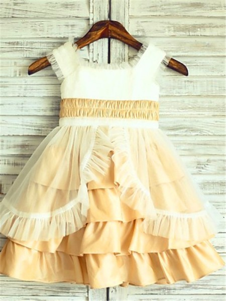 A-line/Princess Square Sleeveless Layers Tea-Length Satin Flower Girl Dresses