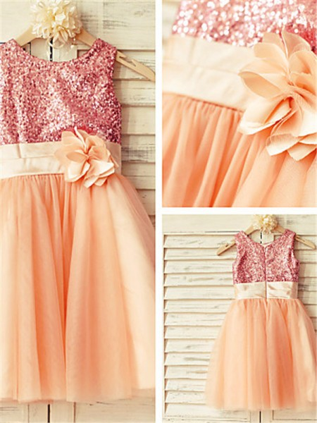 A-line Sleeveless Scoop Knee-Length Tulle Flower Girl Dresses with Sequin