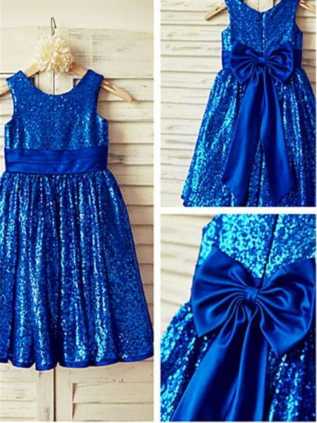 A-line/Princess Scoop Sleeveless Tea-Length Sequins Flower Girl Dresses with Bowknot