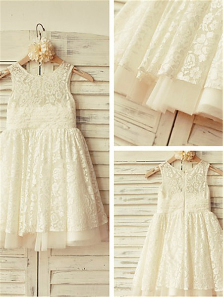A-line/Princess Scoop Sleeveless Tea-Length Lace Flower Girl Dresses with Ruffles