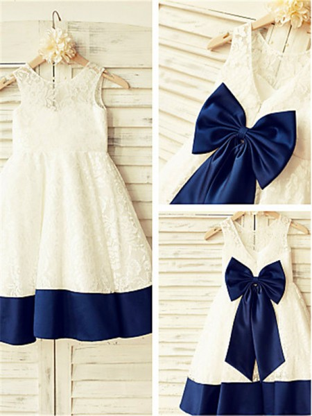 A-line/Princess Sleeveless Scoop Tea-length Lace Flower Girl Dresses with Bowknot