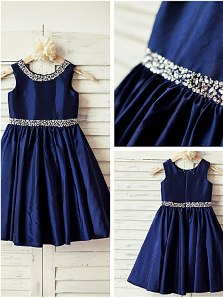 A-line/Princess Scoop Sleeveless Tea-Length Taffeta Flower Girl Dresses with Rhinestone