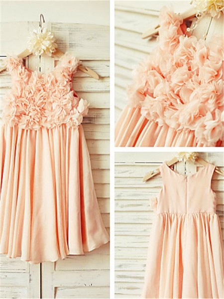 A-line/Princess Straps Sleeveless Tea-length Chiffon Flower Girl Dresses with Ruched