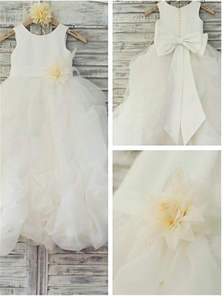Ball Gown Sleeveless Scoop Floor-Length Organza Flower Girl Dresses with Hand-made Flower