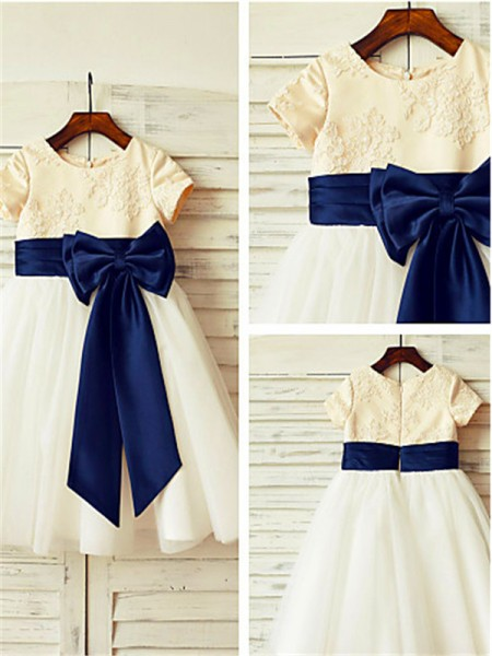 A-line/Princess Scoop Short Sleeves Tea-length Tulle Flower Girl Dresses with Bowknot
