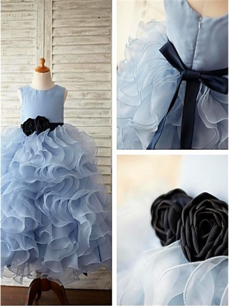 Ball Gown Sleeveless Scoop Floor-Length Organza Flower Girl Dresses with Ruffles