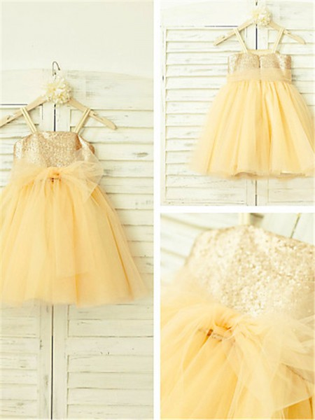A-line/Princess Spaghetti Straps Sleeveless Tea-Length Tulle Flower Girl Dresses with Sequin