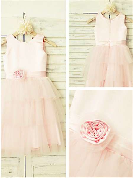 A-line Scoop Tea-length Tulle Flower Girl Dresses with Hand-made Flower