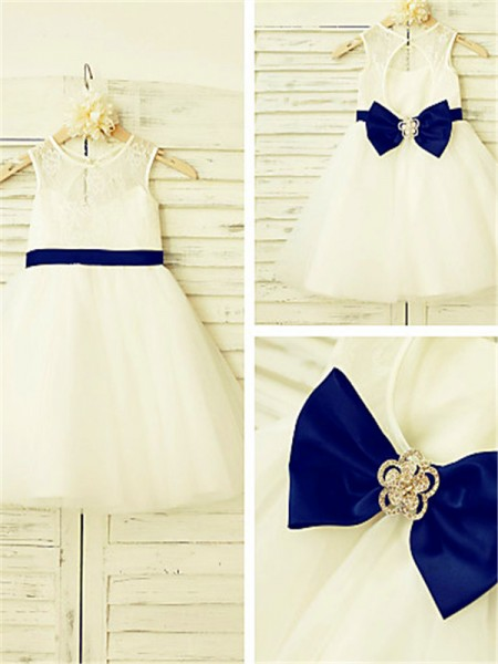 A-line/Princess Scoop Sleeveless Tea-length Tulle Flower Girl Dresses with Bowknot