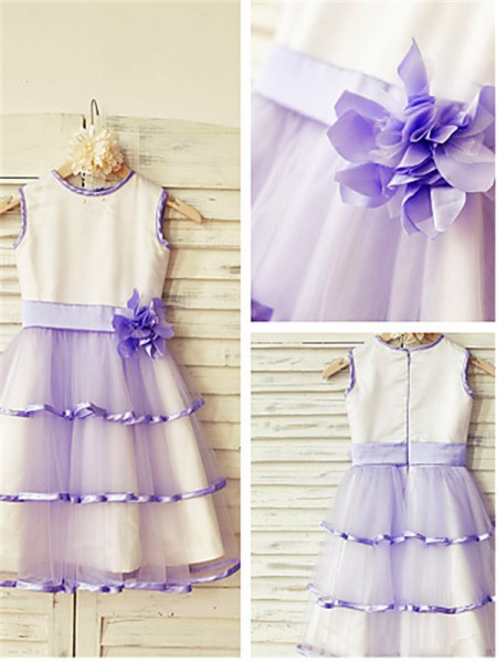 A-line/Princess Scoop Sleeveless Tea-length Tulle Flower Girl Dresses with Hand-made Flower