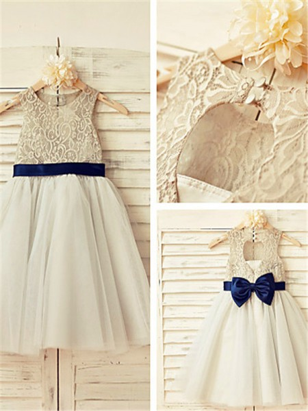 A-line Scoop Sleeveless Lace Tea-Length Tulle Flower Girl Dresses