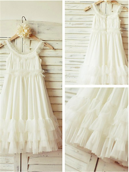 Straps Sleeveless Tea-length Chiffon Flower Girl Dresses with Ruffles