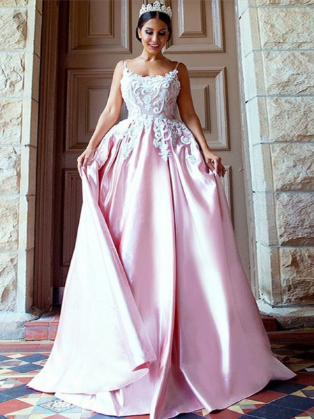 Ball Gown Spaghetti Straps Sweep/Brush Train Satin Dresses with Applique