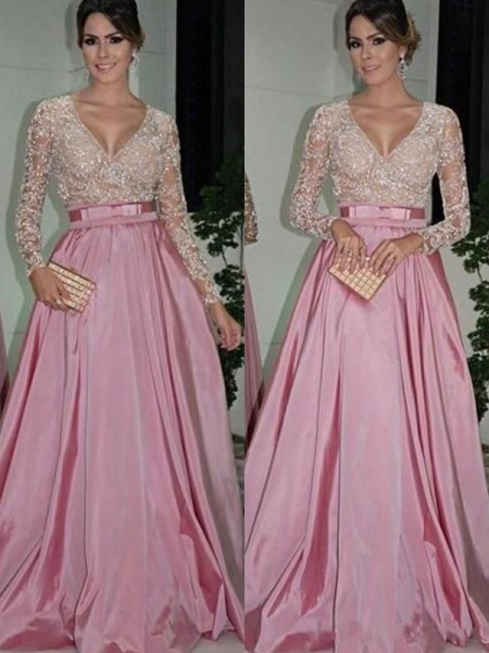 A-Line/Princess V-neck Floor-Length Satin Dresses with Lace