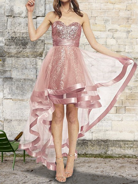 A-Line/Princess Sweetheart Asymmetrical Organza Dresses with Sequin