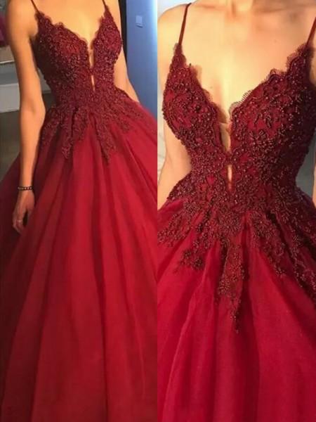 Ball Gown Spaghetti Straps Sweep/Brush Train Tulle Dresses with Applique
