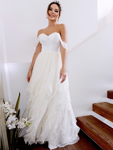 A-Line/Princess Chiffon Off-the-Shoulder Floor-Length Wedding Dresses with Ruched