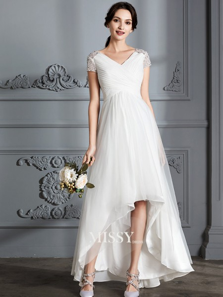 A-Line/Princess V-neck Asymmetrical Tulle Wedding Dresses