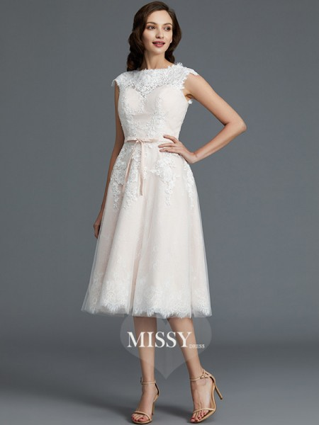 A-Line/Princess Bateau Knee-Length Tulle Wedding Dresses