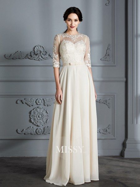 A-Line/Princess Scoop Floor-Length Chiffon Wedding Dresses