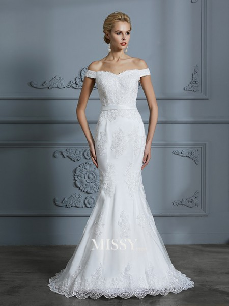 Trumpet/Mermaid Off-the-Shoulder Sweep/Brush Train Tulle Wedding Dresses with Lace