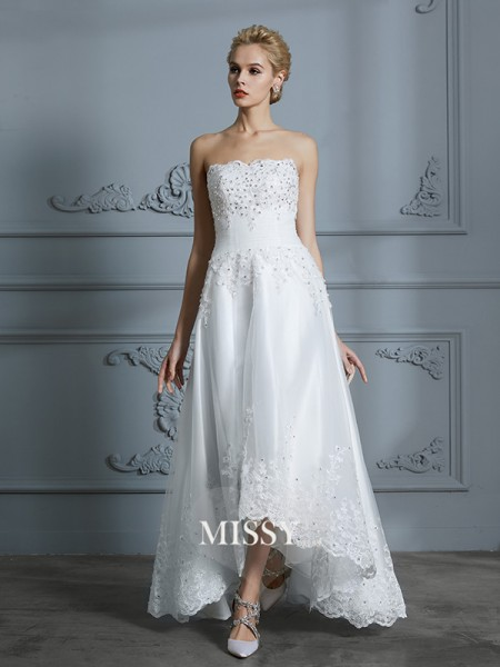 A-Line/Princess Sweetheart Asymmetrical Tulle Wedding Dresses with Beading