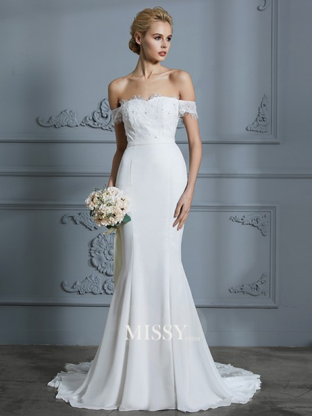 Trumpet/Mermaid Off-the-Shoulder Chiffon Sweep/Brush Train Wedding Dresses with Lace
