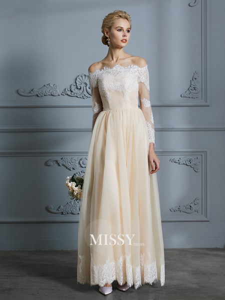 A-Line/Princess Off-the-Shoulder Floor-Length Tulle Wedding Dresses with Lace