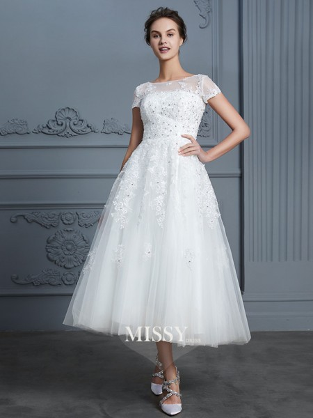 A-Line/Princess Scoop Tea-Length Tulle Wedding Dresses with Beading